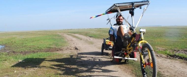 Cédric dans les steppes du Kasakhstan, peu de temps avant son arrivée...