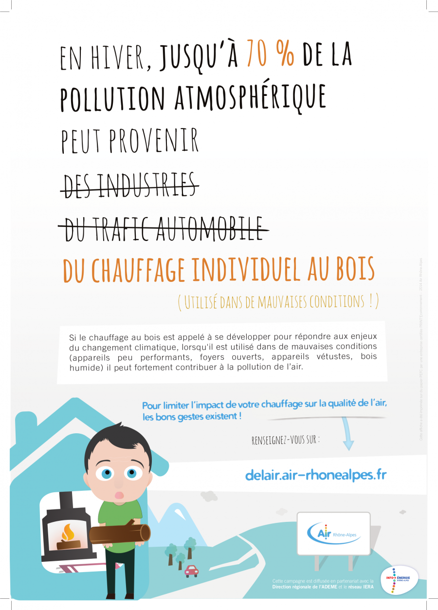 d'où provient la pollution atmosphérique en hiver ? Source : Air rhône-Alpes