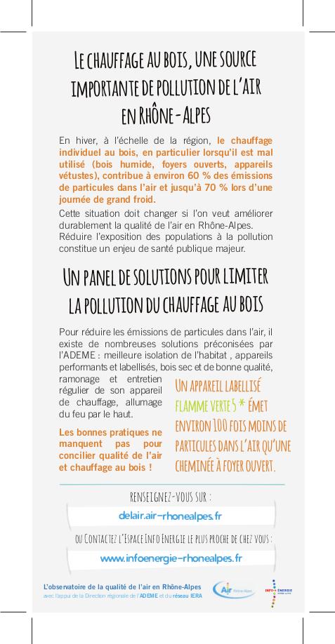 Le chauffage au bois : une source importante de pollution de l'air. Source : Air Rhône-Alpes
