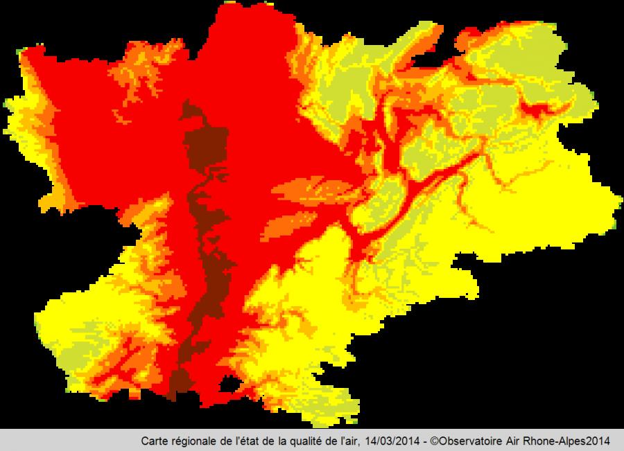 Carte régionale de la qualité de l'air le 14/03/2014, Observatoire air Rhône-Alpes