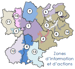 Zones de mesures et d'actions du dispositif régional de surveillance de la qualité de l'air. Source : Air Rhône-Alpes