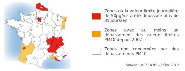 Dépassement particules PM10 de 2008 à 2010