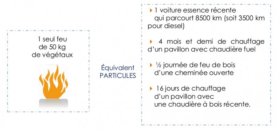 Equivalence feu de végétaux à l'air libre. Source : Air rhône-Alpes