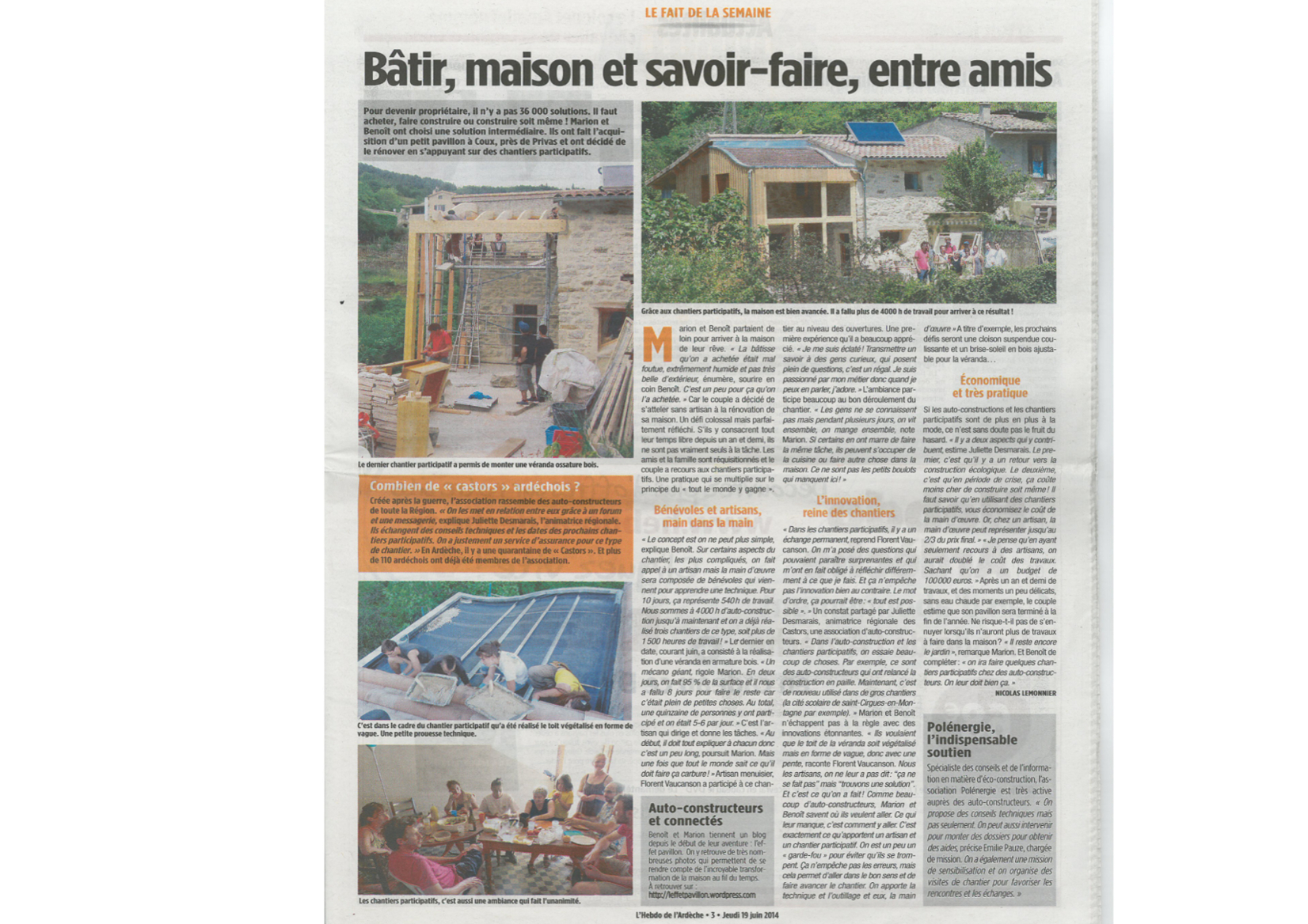Page 3 de l'hebdo de l'Ardèche du 19/06/2014 sur les chantiers participatifs et la visite auto-rénovation accompagnée de Polénergie le 14/06/2014 à Coux.