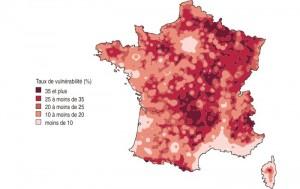 Carte : Part des ménages vulnérables pour l'approche logement (lissage communal)