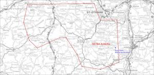 Carte de la zone de survol militaire SETBA en Ardèche
